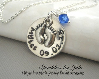 Pitter Patter - Personalized handstamped sterling silver necklace, Swarovski birthstone, Baby footprint charm, Mother & Grandmother Jewelry