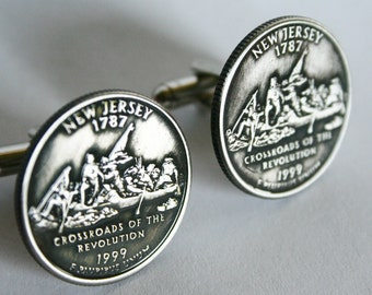 1999 Custom New Jersey State Quarter Cufflinks Cuff Links Handmade