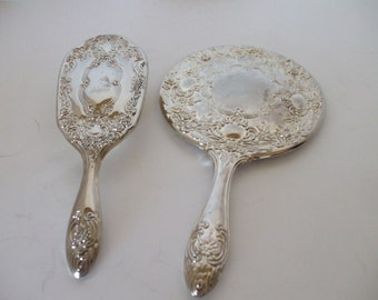 Silverplate Mirror and Brush Set Vintage, Art Deco, Shabby Chic , Boudoir Set, Wedding,  Gifts for Her