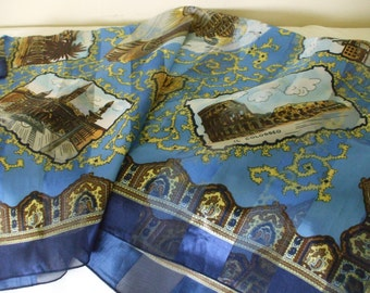 Rome 70s Souvenir Scarf, Multi Blues - Bronze - Gold Tones -  Large 22 x 21-  All the must see sites - Gifts #129