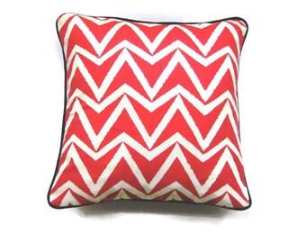 Cushion, throw pillow, homeware decor, Scion Fabrics Dhurrie, coral red and cream cotton geometric, textured edge chevrons.
