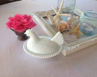 Vintage Milk Glass Hen Dish Cottage Shabby Chic Style at Retro Daisy Girl