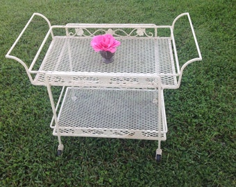 VINTAGE METAL CART Tea Cart / Top Tray is removable /Shabby Chic Cottage Style On Sale at Retro Daisy Girl