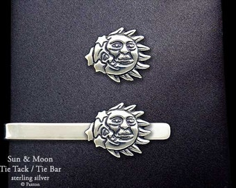 Sun Moon Tie Tack or Sun Moon Tie Bar / Tie Clip Sterling Silver