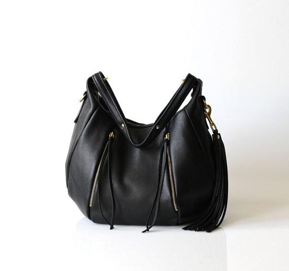 Soft Leather Handbag - OPELLE Ballet Bag - Large Size in Black Pebbled Leather