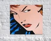 Tough Girl - 24 x 24 Original Acrylic Pop Comic Girl Art Painting on Canvas by Russ Smith