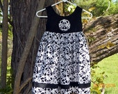 Panda bear girls dress, toddler dress, empire style black bodice with panda bear motif. choice of size, color bodice