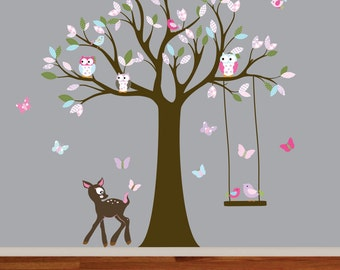 Wall decal tree with pattern leaves,monkey,owl and birds nursery vinyl decal
