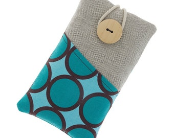 Fabric iPhone 7 case, iPhone 6 fabric case, iPhone 6s sleeve, iPhone 6 Plus case, iPod touch case, iPod classic cover, brown circles, blue