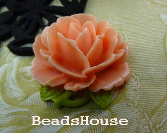 20%off 2pcs (35x40mm) Big Peony Cabochon - Peach Bud