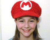 Super Mario Hat Fandom Novelty Cosplay Hat Video Game Hat Red with Brim and Large M Patch in Front Crochet Handmade