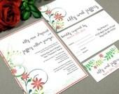 Flower Wedding Invitations Rustic Invitation Suite Spring Garden Wedding Invites Floral Pocket Folder Orange Red Lime by RunkPock Designs