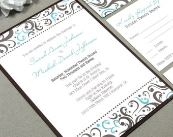 Swirl Wedding Invitation Set Brown and Teal Wedding Invitation Suite Elegant Wedding Invitations Modern Wedding Invites Rustic Wedding