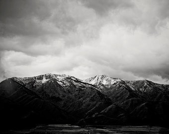 Snow Capped Mountain Photograph in Black and White, Mountain Landscape Art
