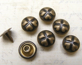 10sets 10mm 4 heart leaf clover vintage pattern studs Rivets Nailheads decorating item for leathercrafts