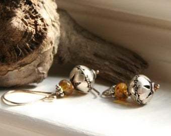 Earrings / Amber Earrings / Dangle Earrings / Cowgirl Earrings / Rustic Earrings / Earthy Earrings / Woodland Earrings