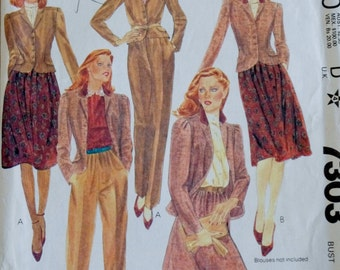 Vintage Mccalls 7303, 80s Jacket Skirt and Pants, 1980s Sewing Pattern, 80s Sewing Pattern, XXS, XS Extra Small Size 8 B31.5