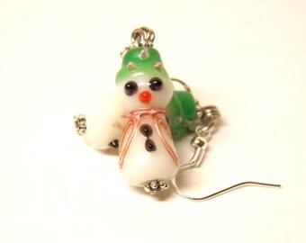 Snowman Earrings, Sterling Silver and Artisan Lampwork Glass Frosty the Snowman Jewelry, Christmas Jewelry, Christmas Earrings #2 OOAK