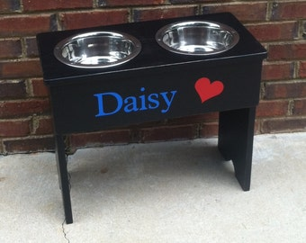 Trendy Personalized Large Shabby Raised Dog Bowl Stand - 18'' Tall - Two 3 Quart Bowls