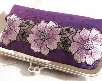 Handmade silk, embroidered lace clutch handbag. Purple, lavender, lilac, white. PURPLE BLOSSOM by Lella Rae on Etsy