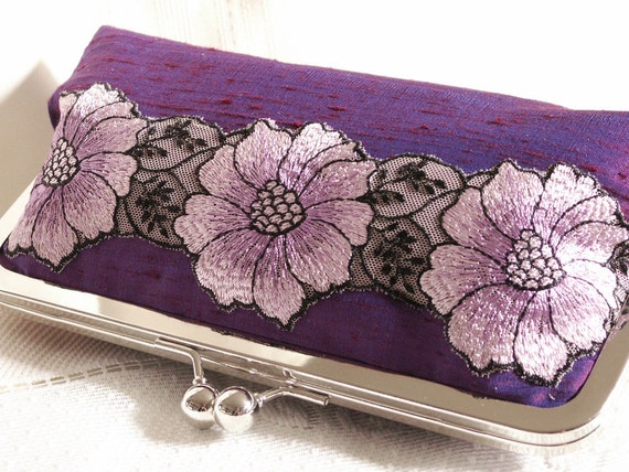 Handmade silk, embroidered lace clutch handbag. Purple, lavender, lilac, white. PURPLE BLOSSOM by Lella Rae on Etsy