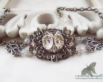 Wisdom Goddess - Aged Silver Owl Filigree Adjustable Bracelet with Swarovski crystals
