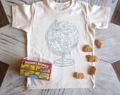 Kids Tshirt - Organic Cotton Toddler Shirt - American Apparel Kids Shirt - Screenprint Tshirt - Globe - Toddler Tee - Hipster Kids Clothes