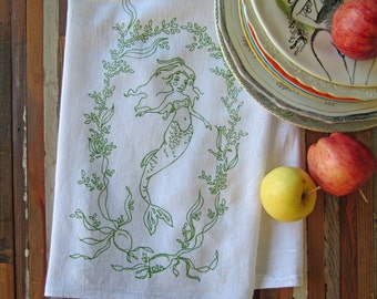 Tea Towel - Screen Printed Organic Cotton Towel - Eco Friendly Dish Towel - Whimsical - Mermaid - Nautical - Seaweed - Classic Flour Sack