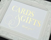 Cards and Gifts Wedding Sign, 8 x 10 GOLD FOIL Wedding Sign by Abigail Christine Design