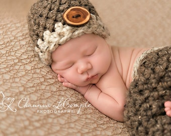 Beanie Hat Newborn Photography Barley Brown Oatmeal