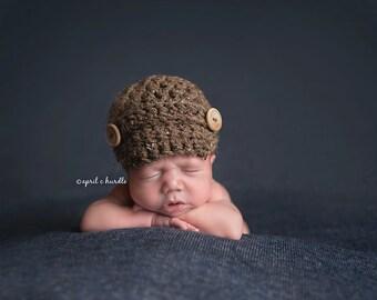 Barley Brown Newsboy Hat Newborn Baby Photography Photo Prop