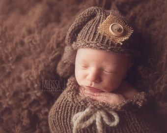 Barley Brown Burlap Baby Newborn Knit Hat Photography Prop