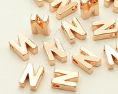 IN-247-RG / 2 Pcs - Initial Tiny Pendant, Alphabet, Capital letter, Upper case, N, Rose Gold Plated over Brass / 5mm x 7mm