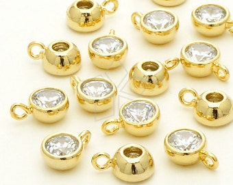 PD-667-GD / 2 Pcs - Tiny CZ Round Charm Pendant, 16K Gold Plated over Brass / 6mm x 9mm