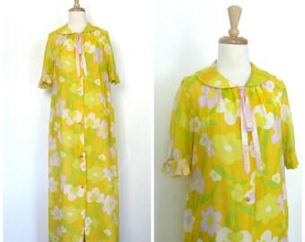1970s Yellow Maxi Dress - 70s dress -  floral dress - I Appel - tea length - garden wedding dress - Medium