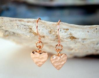 Rose Gold Heart Earrings, Tiny Heart Earrings, Valentine Heart, Rose Gold Earrings UK, Heart Earrings, Birthday Gift