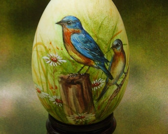 Eastern Bluebirds- Hand Painted Goose Egg Shell, Egg Art