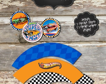 HOT WHEELS Printable Party Bundle - Instant Downloadable Digital Files - Cupcake Toppers and Wrappers