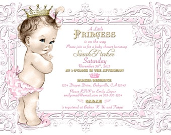 Vintage Baby Shower Invitation For Girl - Princess - Crown - Pink and gold - DIY Printable