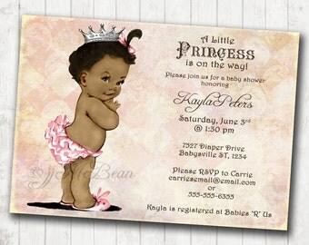 African American Baby Shower Invitation For Girl - Princess - Crown - Pink - DIY Printable