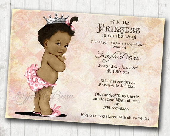African American Baby Shower Invitation For Girl Princess