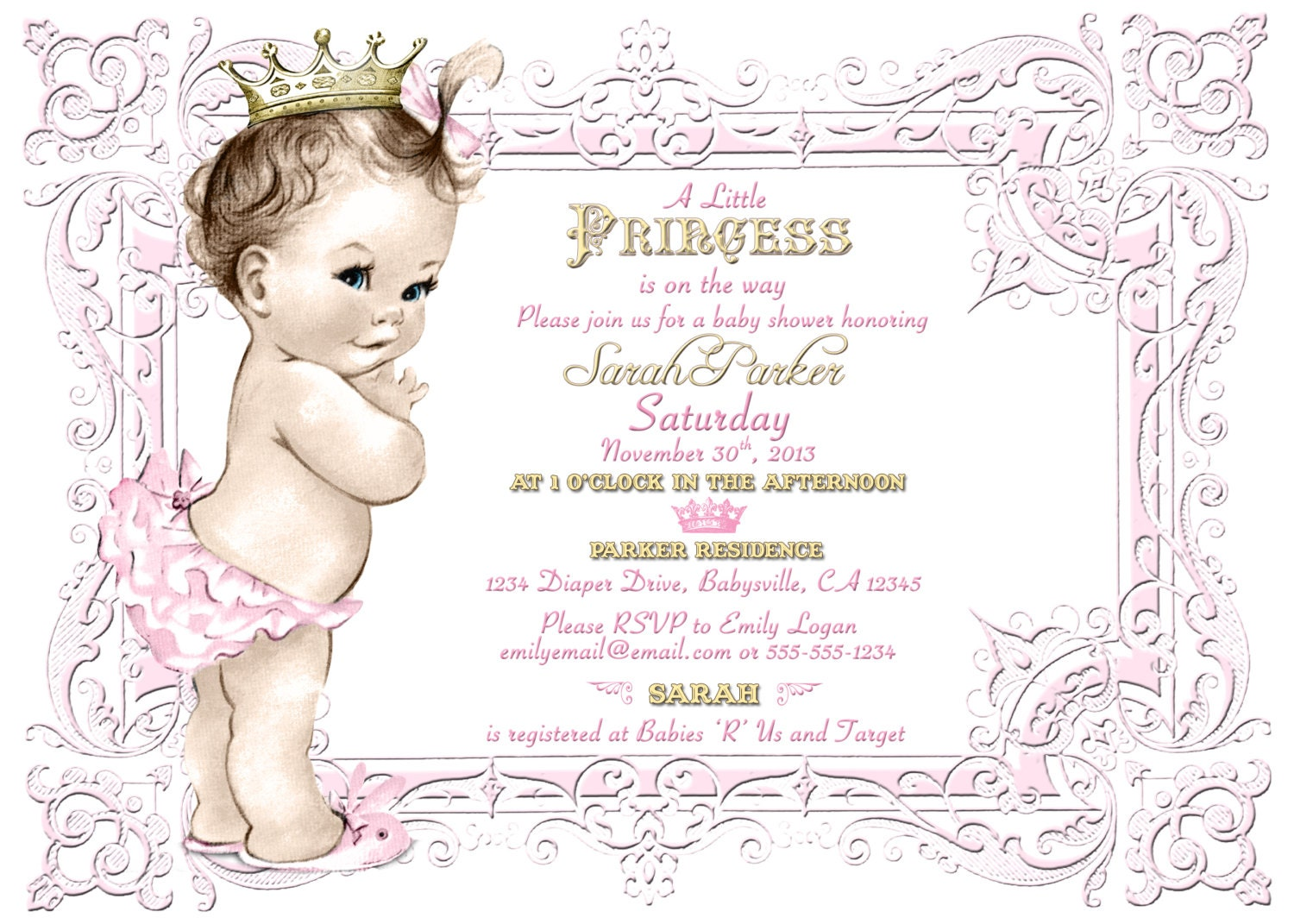 Purple Princess Invitations with awesome invitation sample