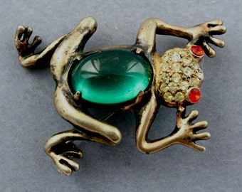 Vintage Retro 1940s Jelly Belly  Sterling Silver Gold Vermeil Rhinestone Frog Figural Brooch Pin
