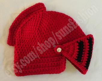 Knight Helmet Crocheted red hat Slouch Crochet Mens Convertible Helmet Hat Handmade Winter Men Black Red snowboard ski funky funny hat