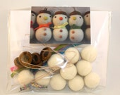 felt ball snowman DIY kit, Make your own felt ball acorn snowman tree ornament kit, set of 5 snowman