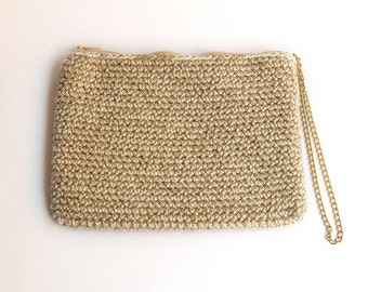 SALE!! 45% OFF!! Beige and golden rectangular crochet clutch, with golden chain handle
