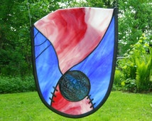 Celtic Knot Panel in Red, White, Pink and Blue