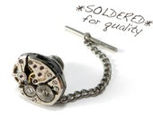 Steampunk Wedding Lapel Pin, Tie Tack - Industrial Steampunk Vintage Mechanical Watch Movement Groomsmen Tie Pin by Compass Rose Design