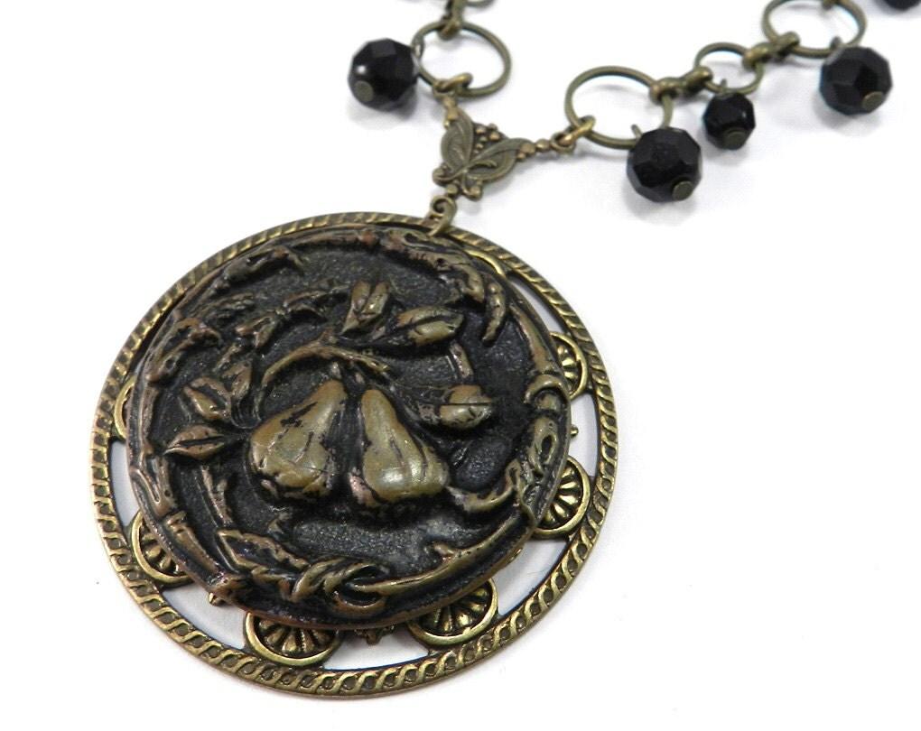 HARVEST Necklace Victorian PEAR FRUIT Button Necklace