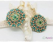 DIY Aurora earrings pattern. How to make earrings. superduo beads, firepolish, swarovski rivoli